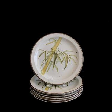 "Vintage Speckled Stoneware Ceramic Stonehenge Midwinter RANGOON Bamboo Theme Dinner Plates 10  3/8"" Wedgwood Group England by SwankyChaperooo"