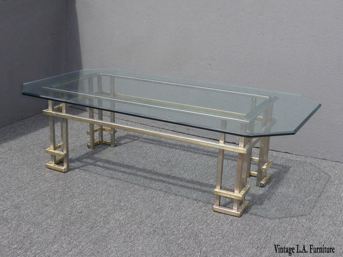 Vintage Mid Century Contemporary Chrome Coffee Table in the Style of Guy Lefevre by VintageLAfurniture