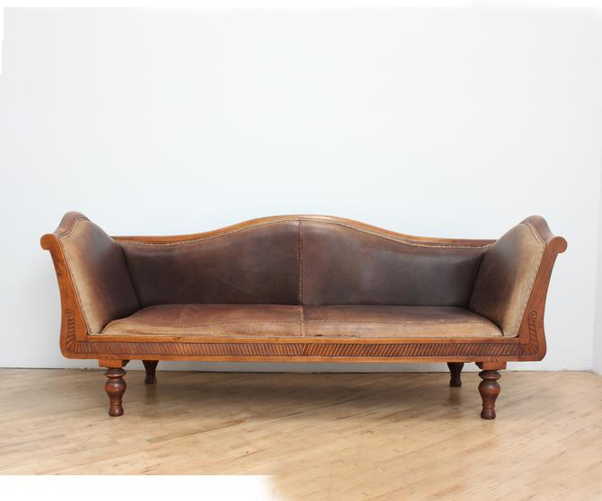 Vintage Leather Chippendale Sofa Camelback Kudu Carved Teak African Braided by 330ModernAntique