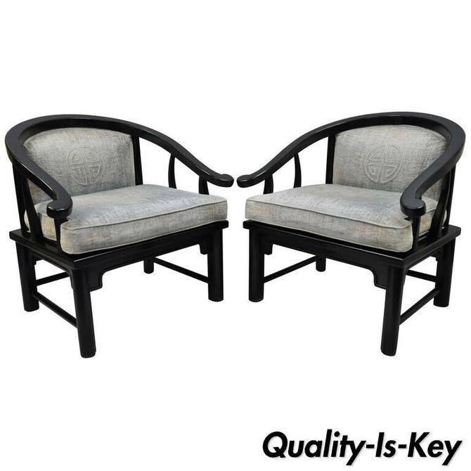Pair of Black Oriental James Mont Style Horseshoe Asian Lounge Chairs by Century