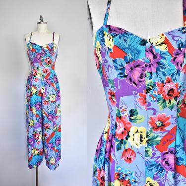 Stephanie colorful summer jumpsuit, jumpsuit women, palazzo jumpsuit, romper women, 90s clothing by QuondamCult
