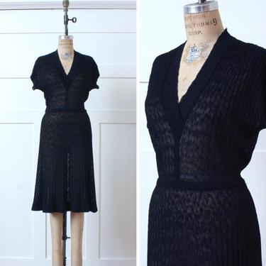 vintage 1950s knit dress • semi-sheer black dress by Kimberly •midcentury Dupont orlon acrylic knit by LivingThreadsVintage