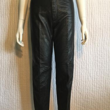 Vtg 80s sexy black north beach leather skinny cigarette pants by AnimalVintageMiami