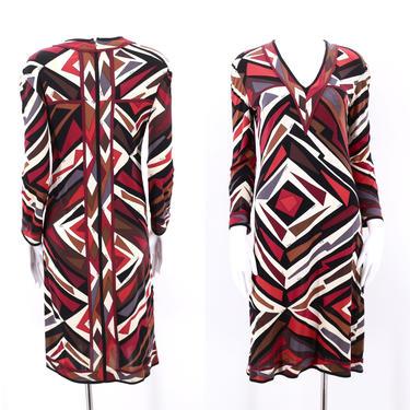 60s EMILIO PUCCI print silk jersey dress M  / 1960s vintage signed print dress 1970s 12 by ritualvintage