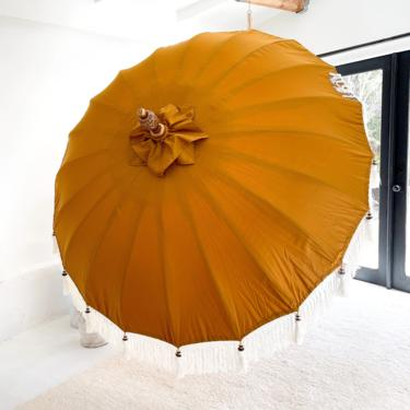 Preorder for a Tentative November/Early December 2021 Arrival - 3FT Mustard Balinese Ceremonial Umbrella with Fringe Bali by TheWickedBoheme