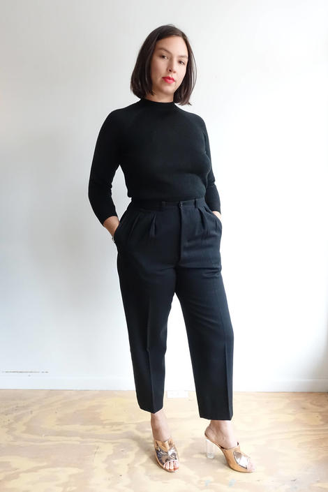 Vintage 40s Black Wool Tuxedo Trousers/ 1940s Pleated High Waisted Pants/ Unisex/ Size 32 by bottleofbread