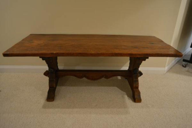 Antique Refectory Farm Trestle Table - Local Springfield/Alexandria VA pick up (Shipping Optional) by RustandRefind