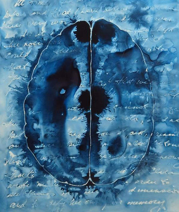 Memory is Fragile: Original ink painting on yupo of brain - neuroscience art literature Isabel Allende by artologica