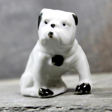 Sweet Vintage Bulldog Ceramic Figure - Circa 1940s/1950s - White Bulldog Figurine - Puppy Love - Made in Japan | FREE SHIPPING by Trovetorium