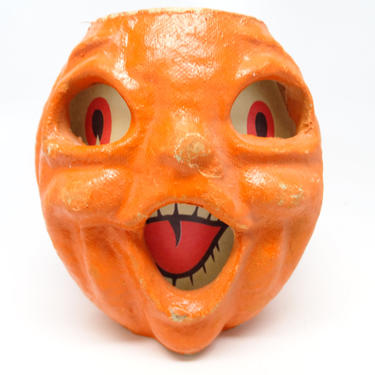 Small Retro 4 1/2 Inch Double Face 1950's Halloween Jack-O-Lantern, Vintage Pulp Paper Mache, Face on 2 sides, Antique Decor by exploremag