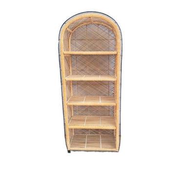 FREE SHIPPING! Vintage Wicker Etagere Large 6ft Black Detail | Boho Rattan Bookshelf | Arched Dome Bohemian Shelf | Mcm Shelving Bookcase by SavageCactusCo