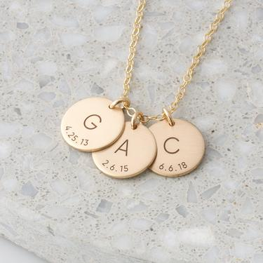 Personalized Initial Birthdate Necklace/New Mom Necklace/Custom Initial Date Necklace/Mothers Gift Gold Fill, Silver, Rose Gold Gift for Her by LEILAjewelryshop