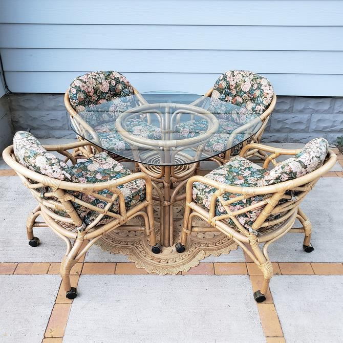 FREE SHIPPING! Vintage Rattan 5pc Dining Table Set | Boho Wicker Glass Top Table, 4 Rolling Chairs on Caster Wheels | Bamboo by SavageCactusCo