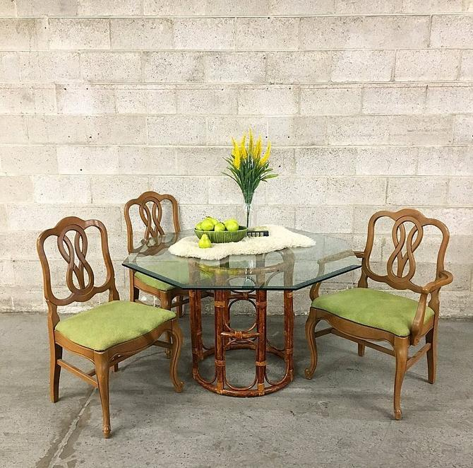 LOCAL PICKUP ONLY Vintage Bamboo Dining Table Retro 1970's Octagon Beveled Glass Table with Round Circular Base by RetrospectVintage215