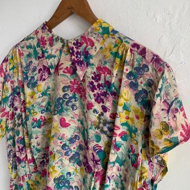 Late 1930s Rayon Crepe Floral Blouse 38 Bust Vintage by AmalgamatedShop