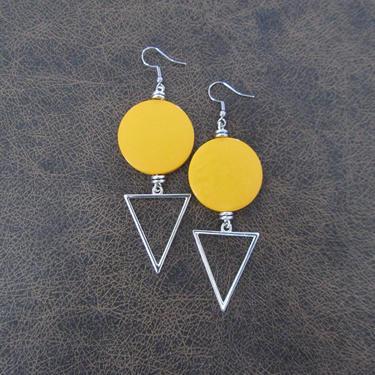 Large yellow earrings, Geometric earrings, African Afrocentric earrings, bold statement earrings chunky earrings, unique Art Deco earrings by Afrocasian