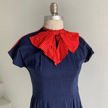 Sweet 1950s Betty Lane Originals Swing Dress Polka Dot Bow Lolita 34 Bust Vintage by AmalgamatedShop