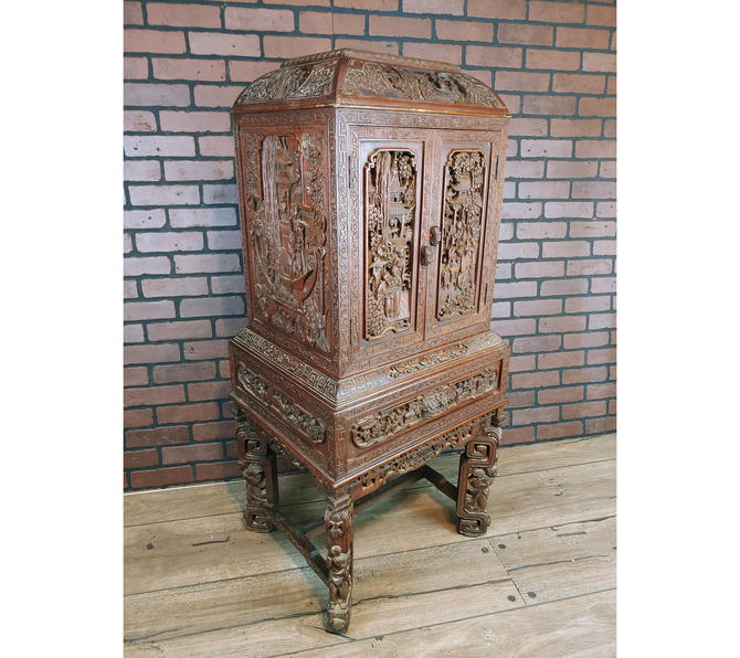 Hand Carved Wood Chinese Prayer Cabinet/Liquor Cabinet/China Cabinet by RedsRustyRelics