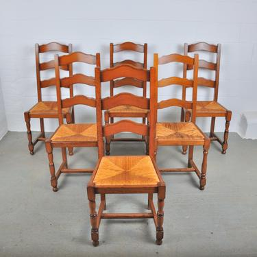 Vintage Set of 6 French Country Style Ladder Back Oak Dining Chairs W/ Rush Seats by StandOutSpaces