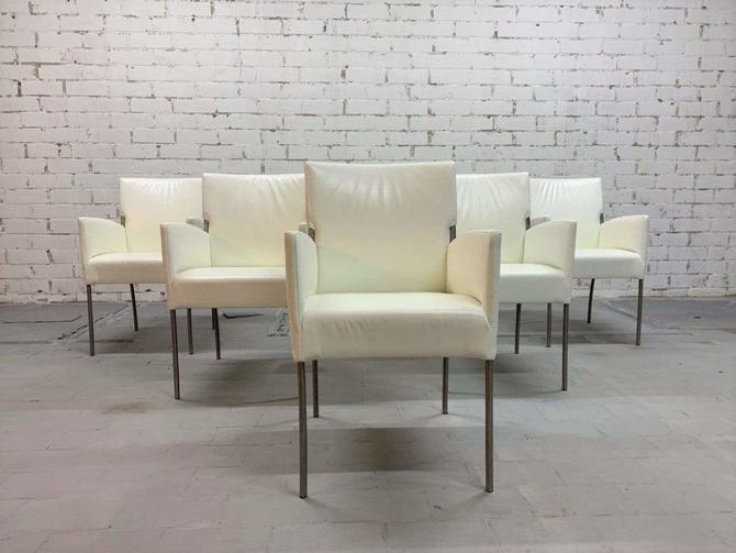 Vintage Italian Creamy White Designer Dining Chairs Restored, Set of 6
