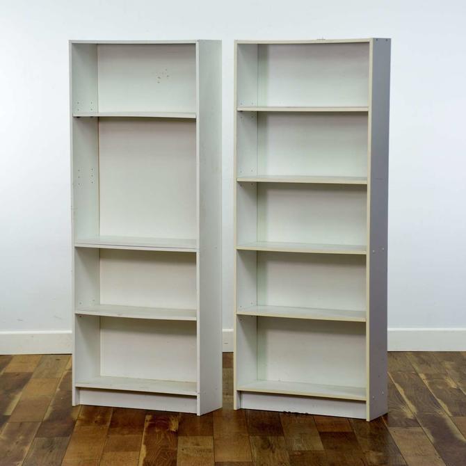 Pair Of White Danish Modern Bookcases
