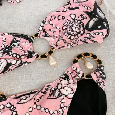 Vintage CHANEL 1993 CC Logo Pearl Drop Chain Bikini 2 piece Swim Suit Swimwear Bralette Crop top Halter - Fr 40 RARE Runway Item! by MoonStoneVintageLA