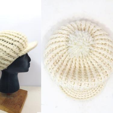 Vintage 70s Ivory Betmar Chunky Knit Slouchy Winter Hat With Brim And Pompom by VelvetCastleVintage