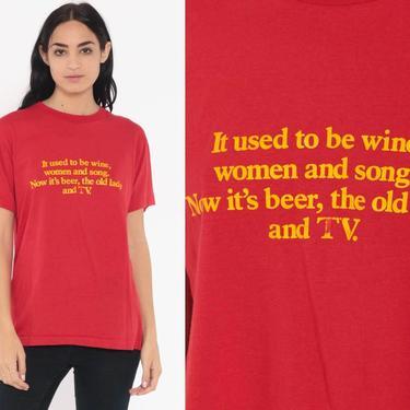 4d44ab863 Vintage Screen Stars Shirt WINE WOMEN And SONG Graphic Shirt Dad Joke  Sarcastic Shirt 80s Tshirt Retro T Shirt Slogan Small Medium by ShopExile