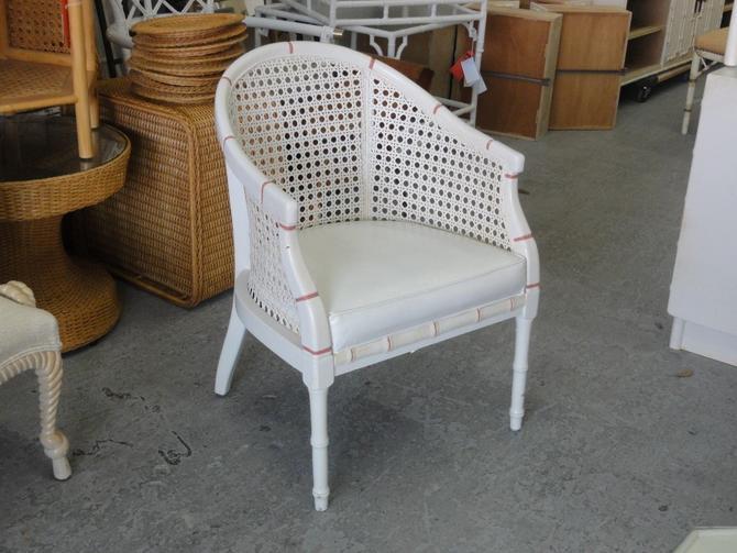 Palm Beach Faux Bamboo & Cane Barrel Chair