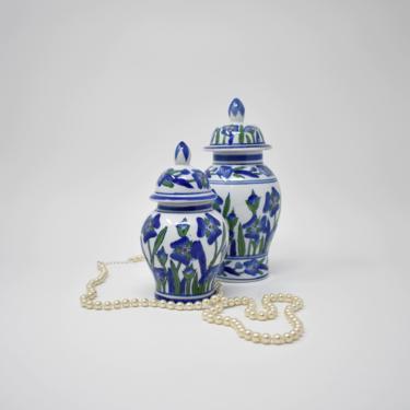 Ginger Jar Set x2 | Pair of Vintage Ceramic Lidded Vases | Blue & Green White Iris Daffodil Pattern | Housewarming Gift | Asian Shelf Decor by LostandFoundHandwrks