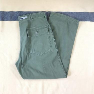 Size 34x28 Vintage 1960s US Army OG-107 Cotton Sateen US Army Fatigue Utility Baker Pants by BriarVintage