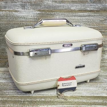 Vintage Tiara Train Case, White American Tourister Luggage, Mid Century Modern Suitcase, Overnight Travel Case + KEY & Tray, Vintage Luggage by AGoGoVintage