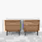 Pair Mid Century Nightstands with Burl Accents