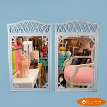 Pair of Faux Bamboo White Fretwork Mirrors