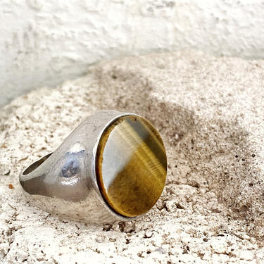 Sterling Silver Tigers Eye Striped Chunky Circle Ring / Size 8.5 / 8 1/4 by AmericanDrifter