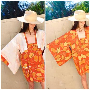 Reversible Kimono // vintage mini dress boho orange floral hippie blouse top shirt jacket robe tunic 60s 70s // O/S by FenixVintage