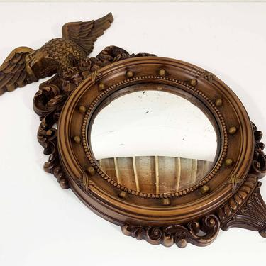 Vintage Syroco Eagle Mirror Convex Bullseye Round Circle Porthole Mid-Century Mantique Rustic Coppercraft Guild DART Made in the USA Federal by CheckEngineVintage