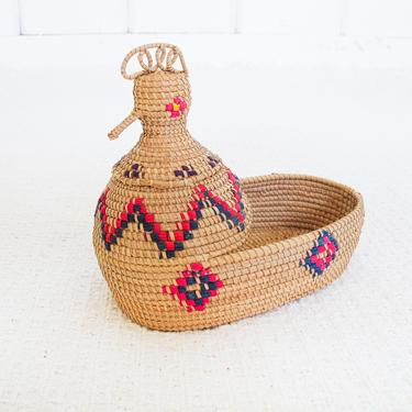 Small Vintage Woven Chicken Basket Catch All by PortlandRevibe