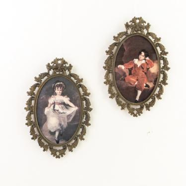 Pair of Made in Italy Oval Brass Picture Frames, Set of 2 Ornate Brass Frames with Victorian Boy and Girl Prints, Small Wall Decor by PebbleCreekGoods