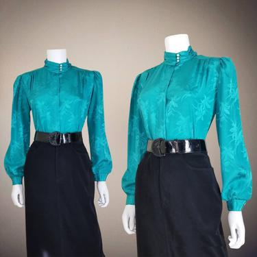 Vintage High Neck Blouse, Medium / Colorful Button Blouse / Silky Office Blouse / Jacquard Cocktail Blouse / 1980s Long Sleeve Party Blouse by SoughtClothier