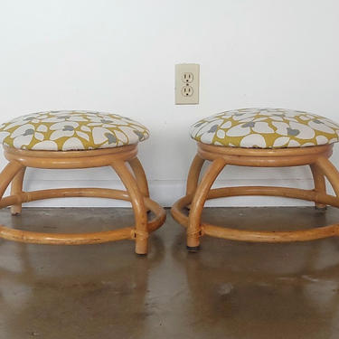 Vintage Modern Stackable Low Rattan Stools - Set of 2 by ModandOzzie