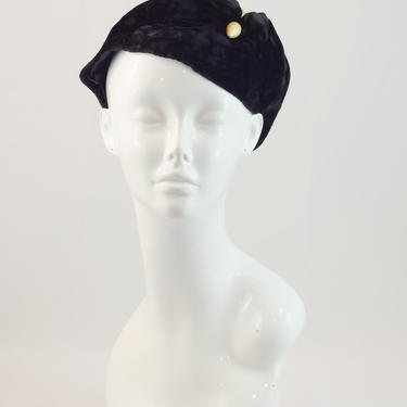 1930s Vintage Hat - Velvet Fitted Slouching Cap With Peaked Front and Faux Pearl-ish Wood Hatpin by DomesticatedPinup