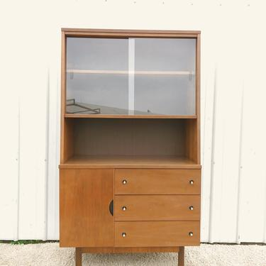 Mid Century Compact China Cabinet by Stanley