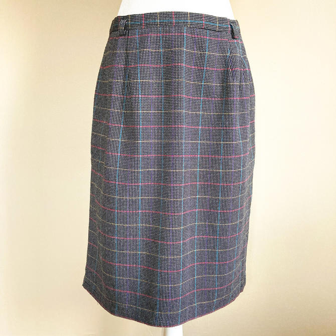 80's Colorful Grid Plaid Pencil Skirt | Large by MuteVintage