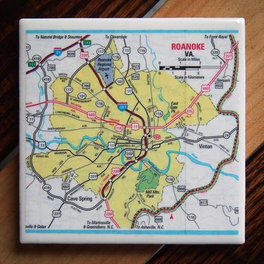 2011 Roanoke Virginia Handmade Repurposed Map Coaster - Ceramic Tile - Repurposed 2010s AAA Map - Southwest Virginia by allmappedout