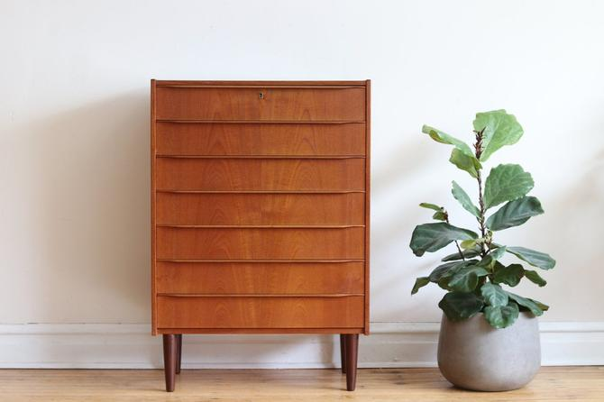 Mid Century Danish Modern Minimalist Teak Highboy Dresser by SharkGravy