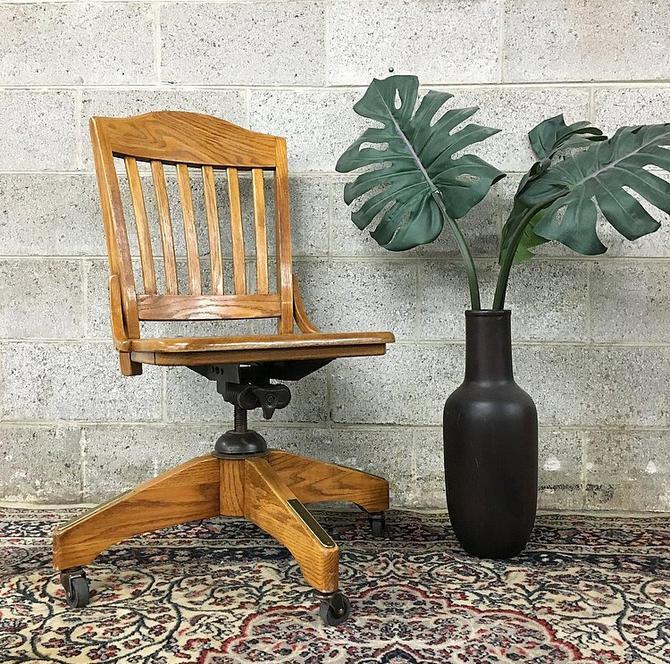 Superb Vintage Wood Office Chair Retro Adjustable Desk Chair On Lamtechconsult Wood Chair Design Ideas Lamtechconsultcom