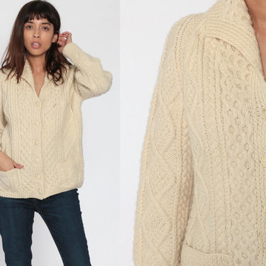 Wool Fisherman Cardigan Cable Knit Sweater Irish 70s Boho Cream Bohemian Chunky Grandpa Vintage 80s Button Up Cableknit Small by ShopExile