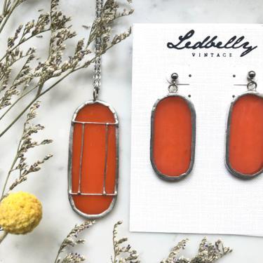 Orange Translucent Stained Glass Jewelry Set | Stained Glass Necklace | Stained Glass Earrings | Vintage Style Jewelry Set by LedbellyVintage