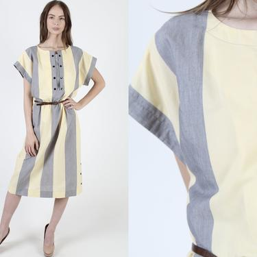 Yellow Grey Stripe Dress / Snap Up Chest / Wide Vertical Lined Dress / Draped Colorblock Secretary Day Dress / Wear To Work Midi Maxi Dress by americanarchive